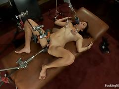 Kiki's tits are pumped, while she gets nailed by a machine porn tube video