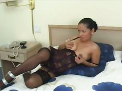 Petite brunette plays with a cock and gets fucked doggy style