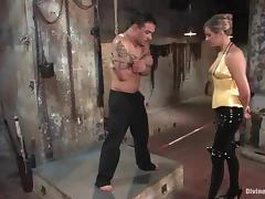 Maitresse Madeline gives a handjob to Rico and makes him lick her vag