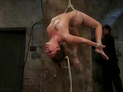 The suspension arches Rilynn Rae and she sucks her master's dick