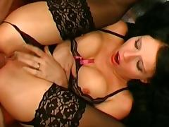 Dark-haired Adina was drilled in her holes