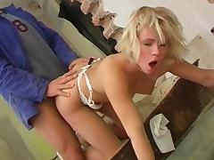 Blonde whore gets her asshole fucked and her pussy licked