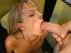 Slutty babe sucks a big dick and receives a massive facial
