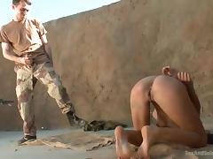 detainee lyla storm is assaulted by two soldiers porn tube video