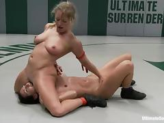 Sexy blondie is enjoying a total domination over her opponent