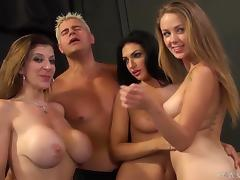 Amber Cox, Kimber Day and Sara Jay get fucked by a few handsome men tube porn video