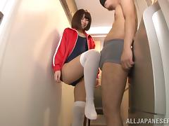 Mizuki Kiriya Teasing a Blindfolded Dude's Cock with Her Legs and Feet