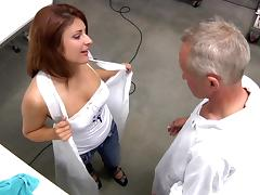 Grandpa fucks chubby brunette on the table