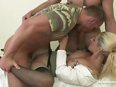 Bisexual soldiers are having a threesome with a busty nurse tube porn video