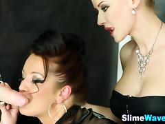 Euro glamour lesbos lick pussy and get wam