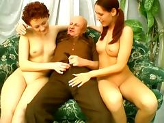 Old Bald Dude Is Insane Licking Two Young Pussies
