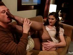 Gorgeous Samantha Ryan gets fucked in foot fetish video tube porn video