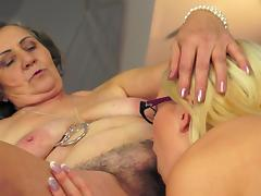 Old and young lesbians are licking pussies tube porn video