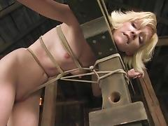 Skinny Alexa Lynn gets toyed and tortured in a barn porn tube video