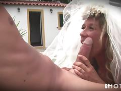 bride sucks her husband's cock