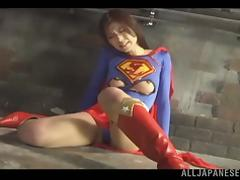 Japanese Superwoman Ren Aizawa Gets Her Uniform Ripped as she Lost
