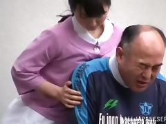 Public Sex with Kinky Japanese Nurse and an Old Fart in Wheelchair tube porn video