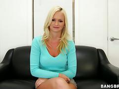 Beauty Emily Austing masturbates, fucks a cock and gets facialized