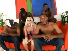 Lovely Kinzy Jo gets gangbanged in interracial video