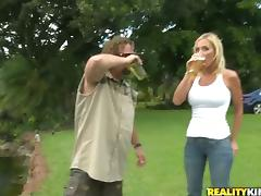 Sexual picnic with a busty and sassy blond cougar tube porn video