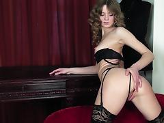 elegant slut plays with her pink pussy