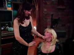 Three kinky lesbians make out and fuck each other's vags with a strapon
