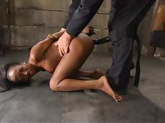 Delicious ebony siren is being bondaged and fucked with toys