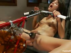 Passionate Billi Ann gets drilled by a machine in a gym