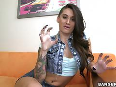 Hot tattooed brunette Alby Rydes enjoys a gangbang indoors