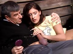 Teen brunette with flawless body fucked by old man at the open air tube porn video