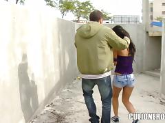 Sex with a naughty chick in the abandoned construction tube porn video