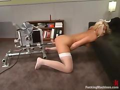 Smoking hot blond in white stockings gets it from behind