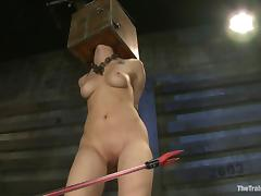 Tattooed brunette Asphyxia Noir gets beaten in a hot BDSM scene