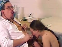 Doctor, Blowjob, Brunette, Doctor, Glasses, Old Man