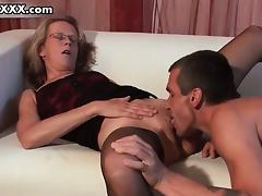 Horny mature  in sexy stockings gets