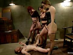 Three horny bitches in lingerie are torturing this man