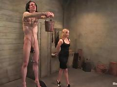 Skinny guy gets his balls tortured and ass drilled by a girl