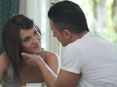 Charming brunette Alexis Brill gets fucked on the kitchen table
