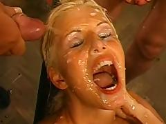 Bukkake, Blonde, Blowjob, Bukkake, Compilation, Dress