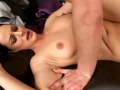 Dark-haired cutie is kissing with a dick