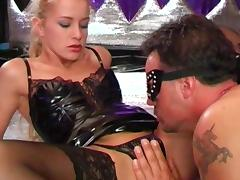Blonde in corset Natalli di Angelo fuck with gang of dicks