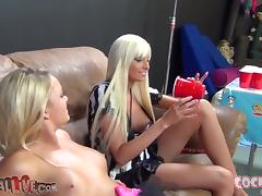 Two salacious blondes suck a dick before jumping on it by turns
