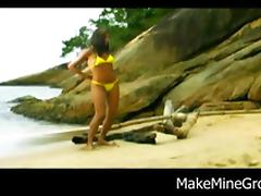 Sweet Ass Brazilian Chick gets boned by the sea tube porn video