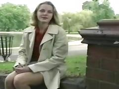 Nervous blonde milf flashing in the park porn tube video