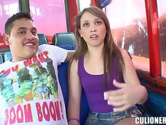 Smoking hot chick Laura fucks some guy in the bus tube porn video