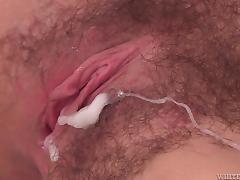 jizz on her pussy lips @ my hairy cream pie #20