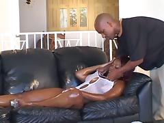 Redhead Ebony Hoe Looks Perfect With long Dick In Her Mouth
