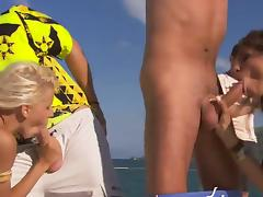 Two skinny sluts get  their cunts slammed on a yacht tube porn video