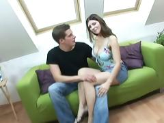 Brunette Simi Sucking And Fucking Cowgirl With A Horny Dude