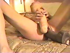Crazy anal sex and huge toys with hot blonde
